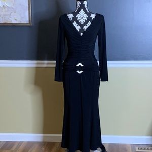 Jovani Black Jersey Knit Evening Dress Sz 10